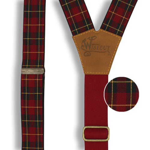 Tartan Red-green-yellow Suspenders wide straps (1.36 inch/ 3.5cm) - Wiseguy Suspenders