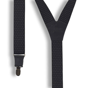 "The Banker Formal Suit Suspenders 1.3"" wide with Black leather parts - Wiseguy Suspenders"
