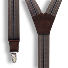 Load image into Gallery viewer, The Doctor Coffee Brown striped men's Suspenders 1.3 inch - Wiseguy Suspenders