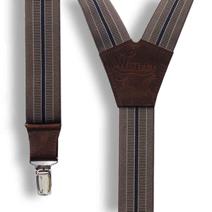The Doctor Coffee Brown striped men's Suspenders 1.3 inch - Wiseguy Suspenders