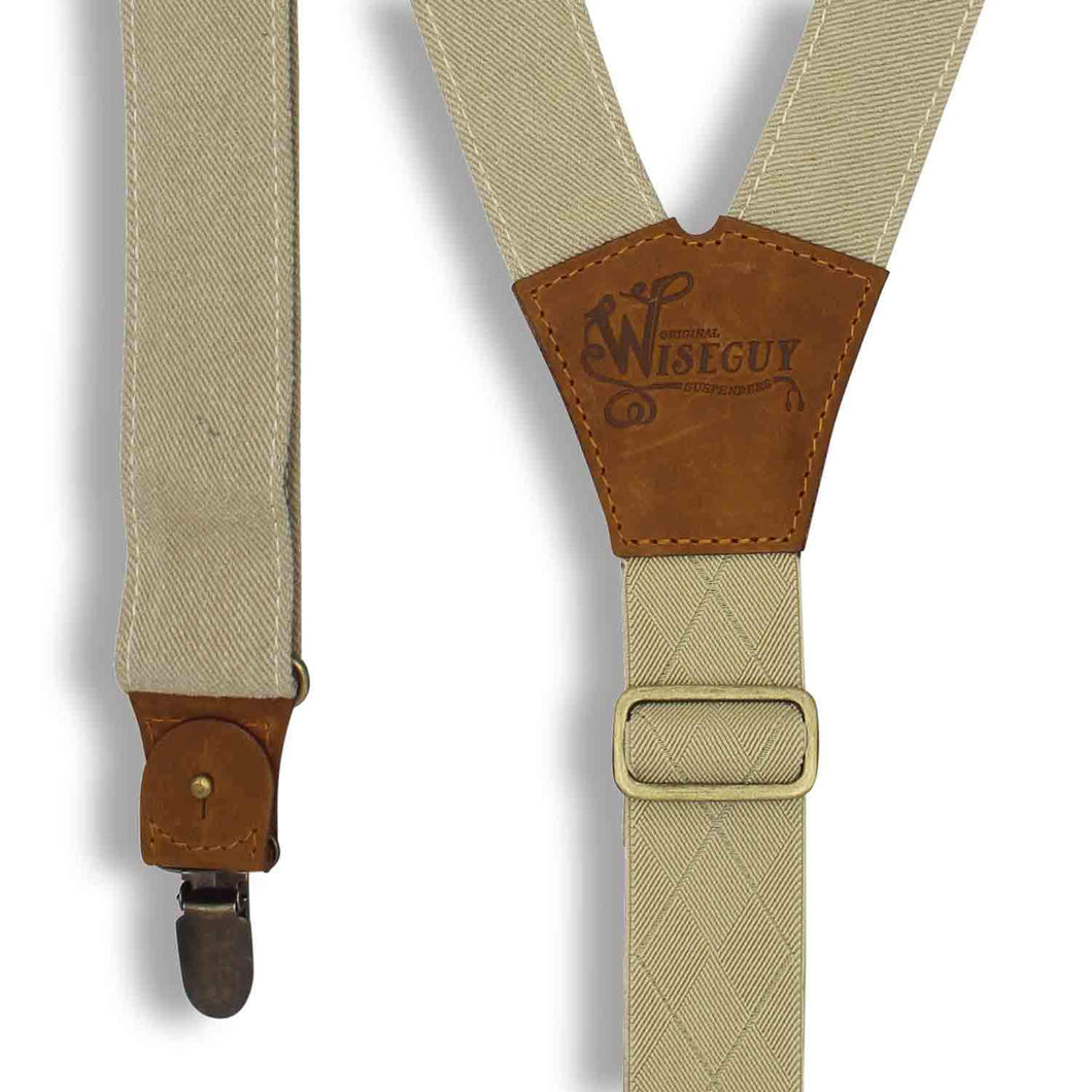 Duck Canvas Beige Suspenders braces with Elastic Back Strap 1.36 inch - Wiseguy Suspenders