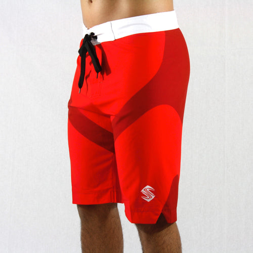 A look at our men's physique boardshorts featuring a lightweight polyester/spandex blend and a fitted cut.