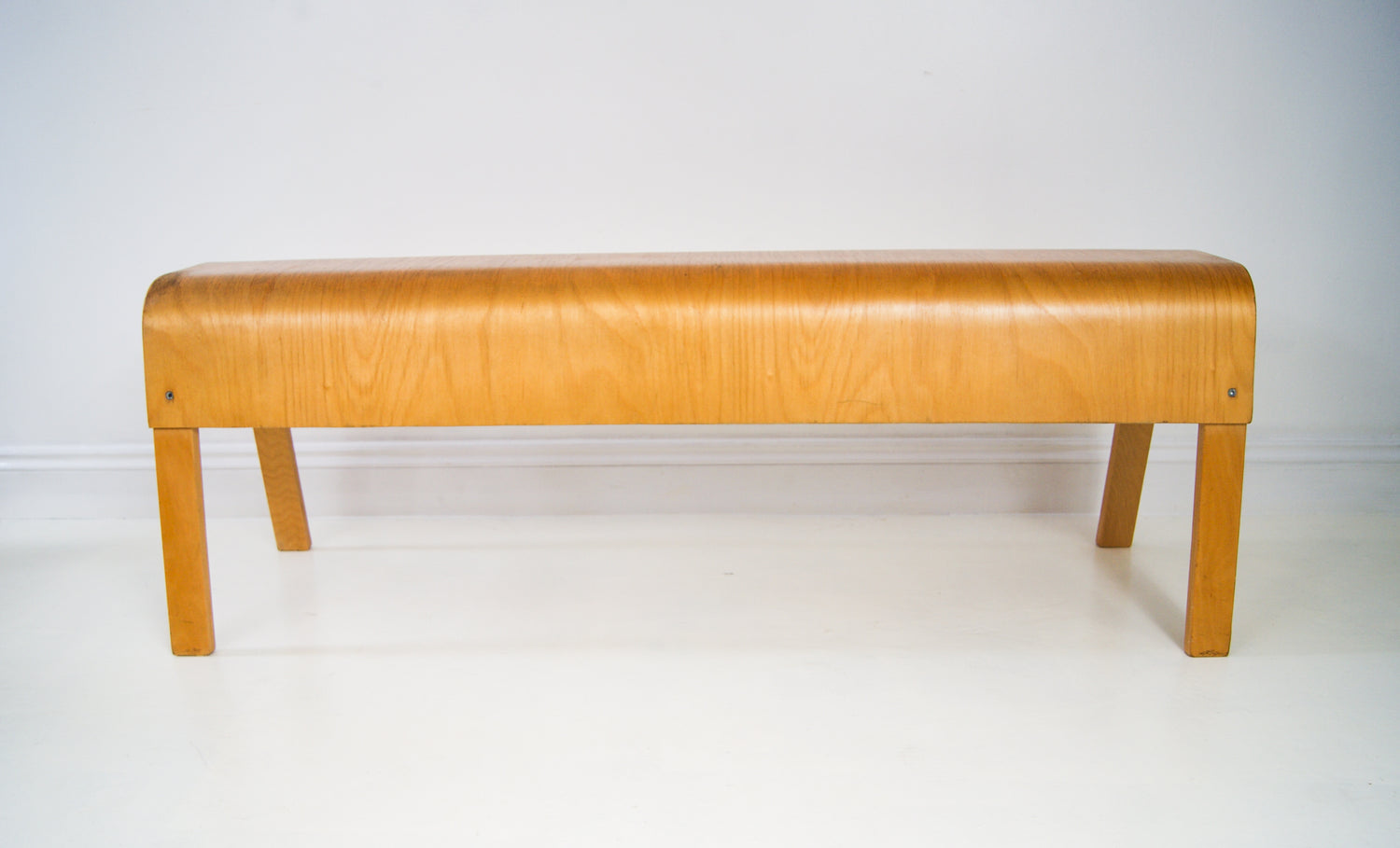 Vintage Bent Ply Bench Scandinavian Beech Wood Seat