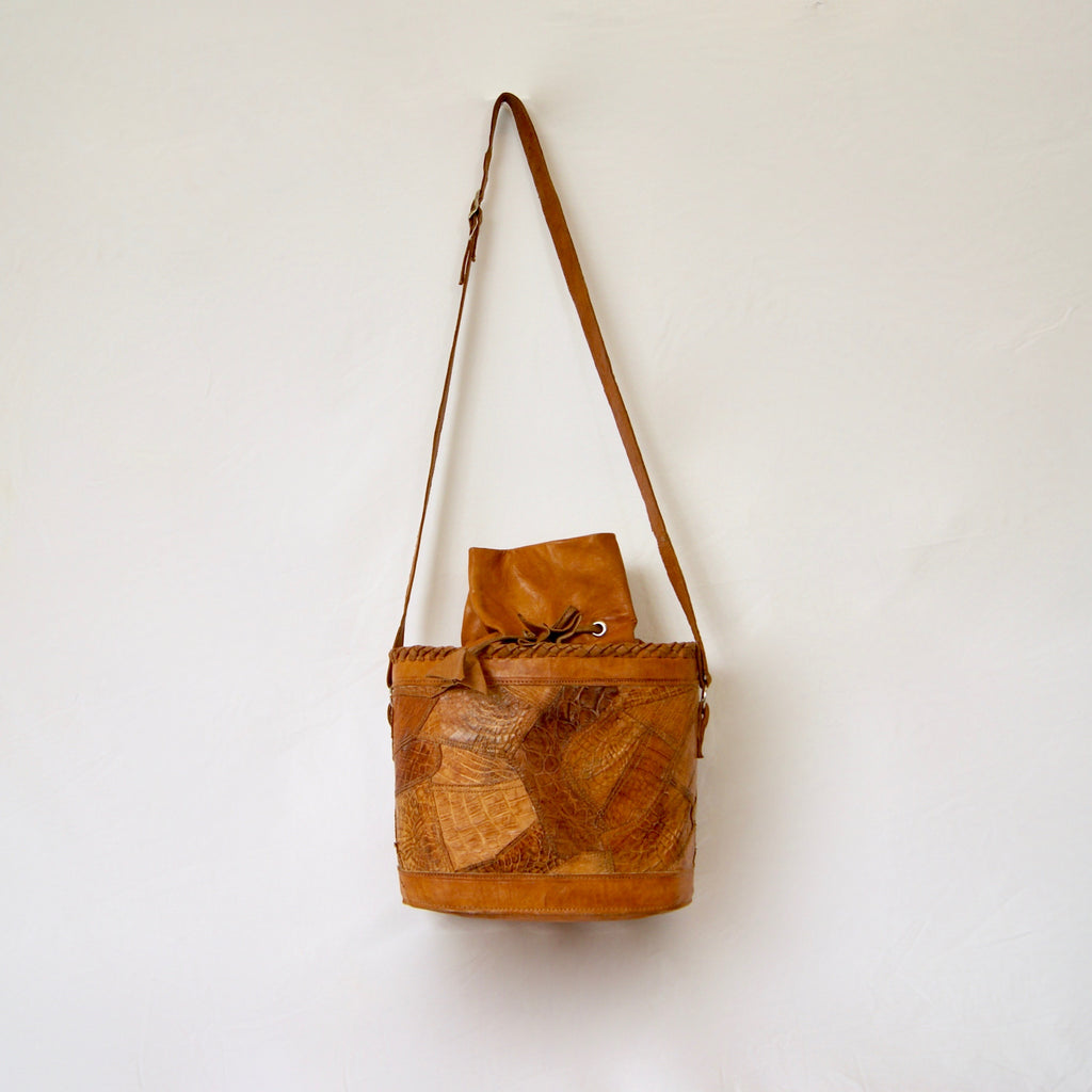 Exotic leather Vintage 1970s Crocodile Skin Patchwork Bucket Shoulder bag