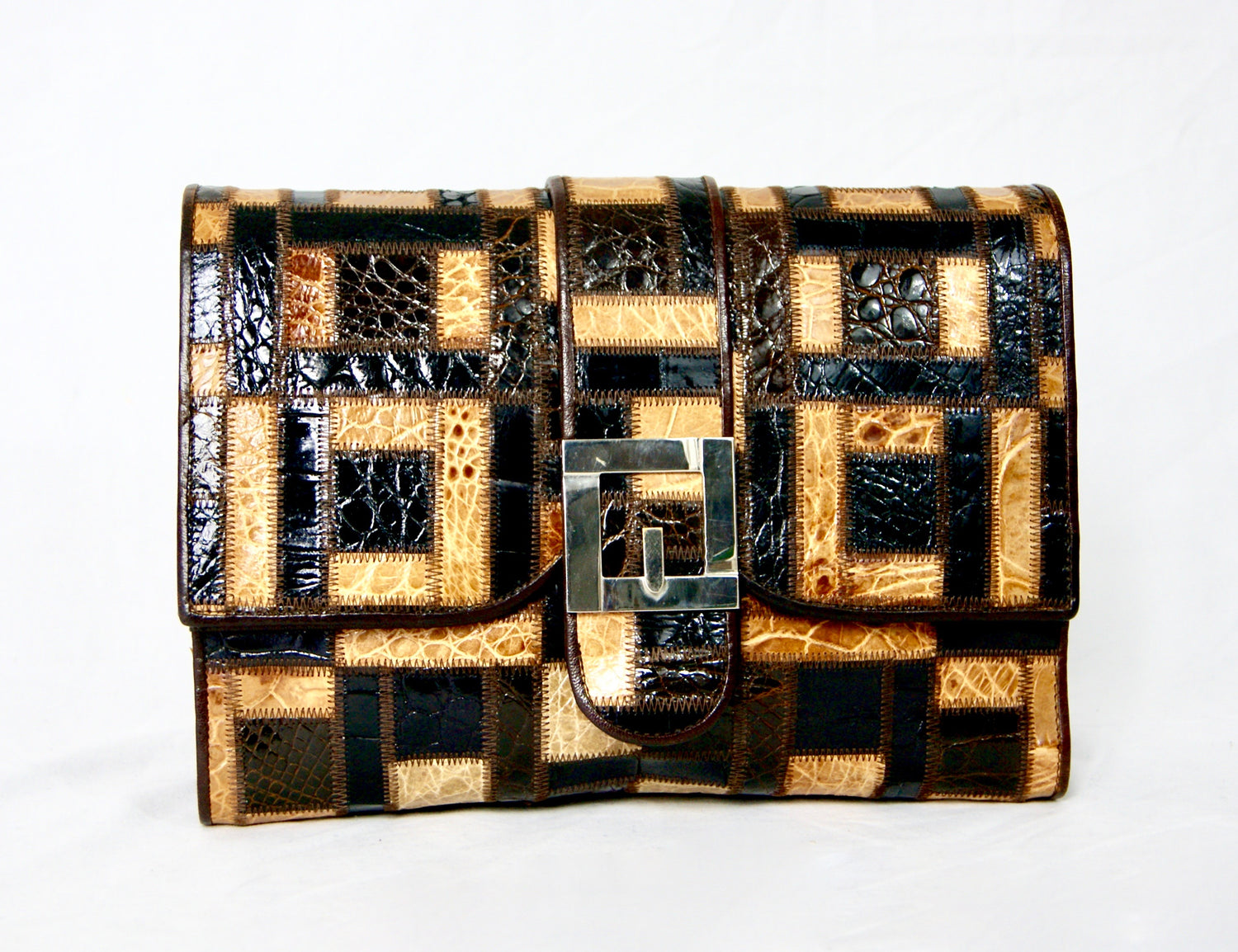 FIGLI DI ORFEO MACCHI Exotic Leather Vintage 1970s Crocodile Skin Patchwork Clutch Shoulder Bag