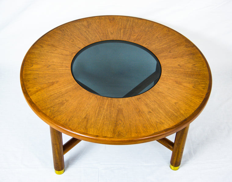 G PLAN Teak Wood Round Coffee Table With Smoked Glass Top