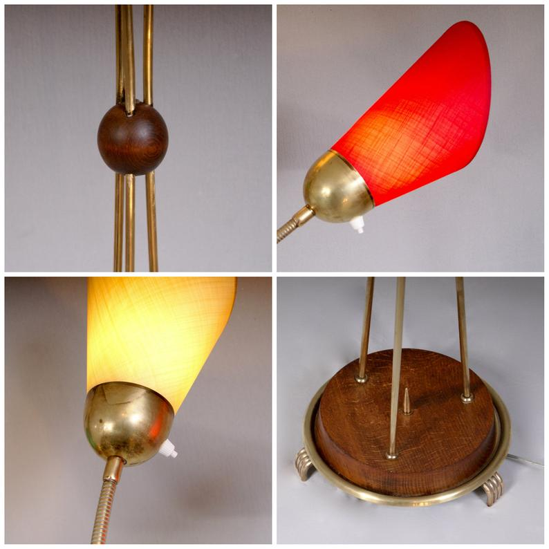 Vintage 1950 Brass and Acacia Wood Adjustable 3 Strands Floor Standing Tulip Lamp