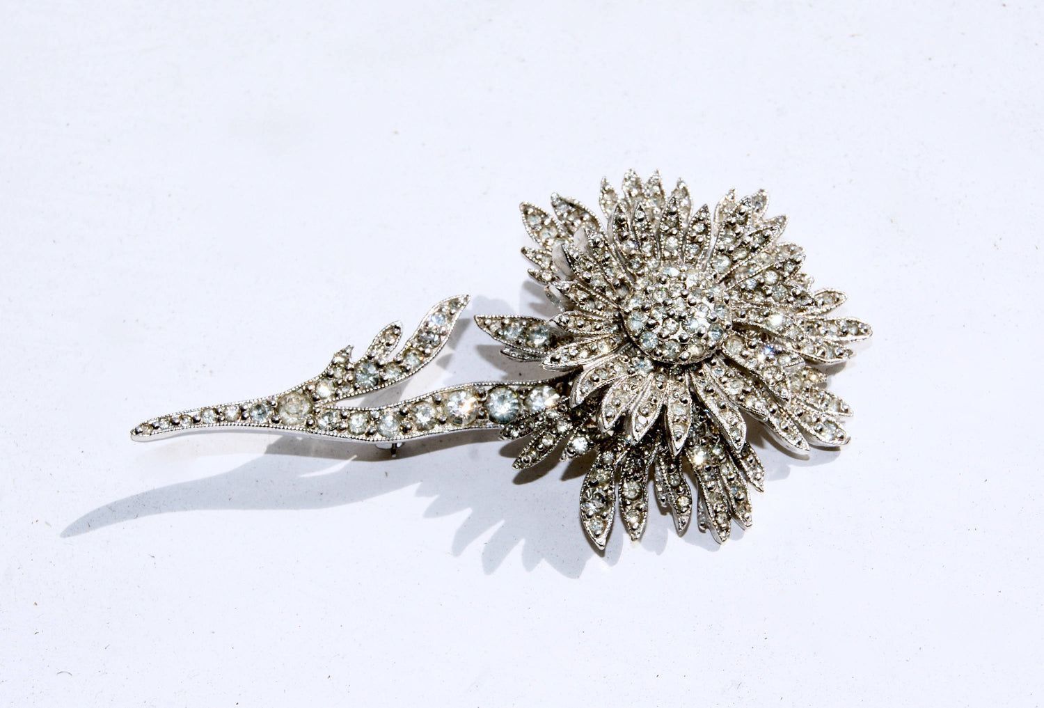 CHRISTIAN DIOR by Mitchel Maer Vintage 1950s Original Diamante Encrusted Sparkly Pin Brooch