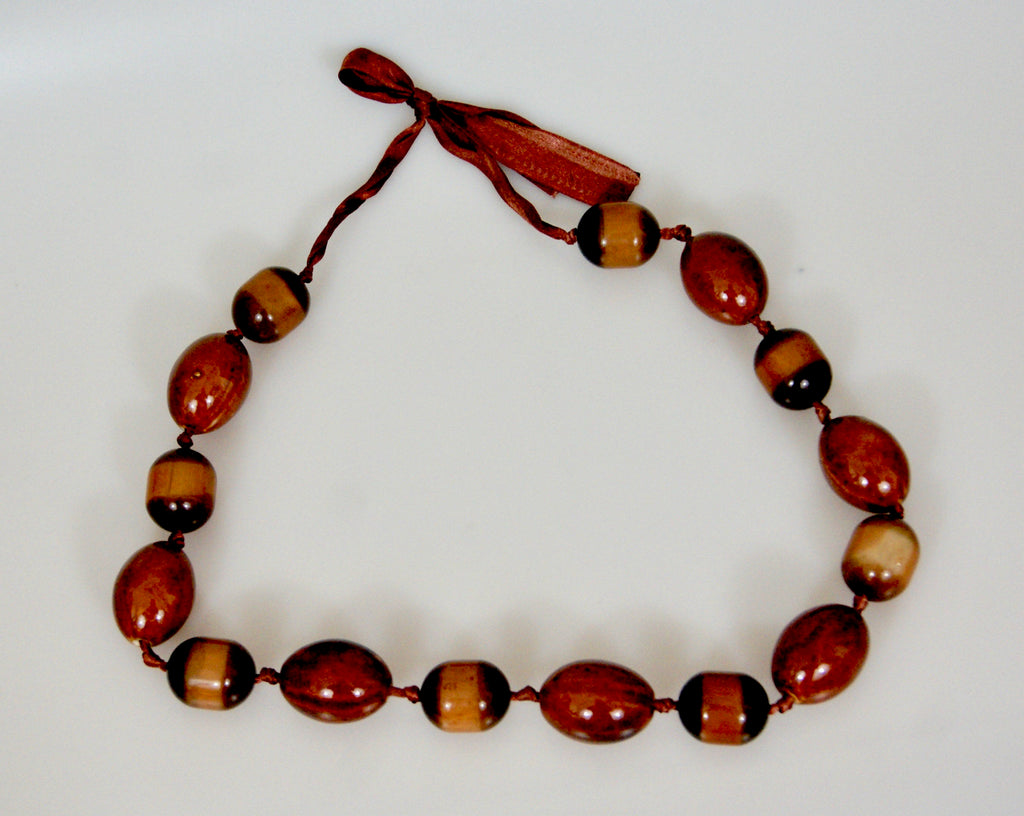 Porcelain Beads Vintage Chocolate And Butterscotch Brown Chunky Beaded Necklace