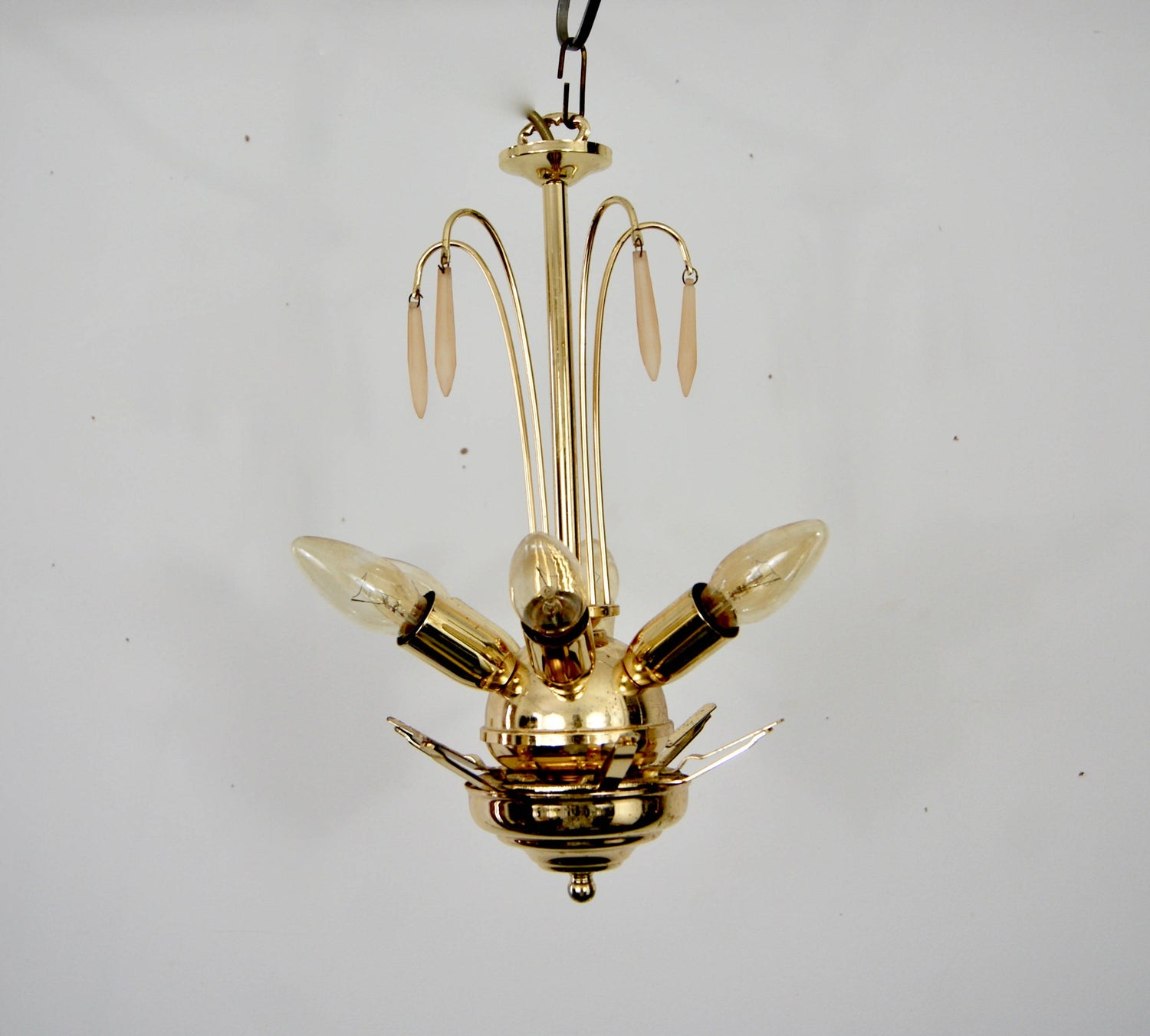 Art Deco Revival Vintage 1960 Venetian Murano Textured Glass Chandelier Ceiling Hanging Lamp