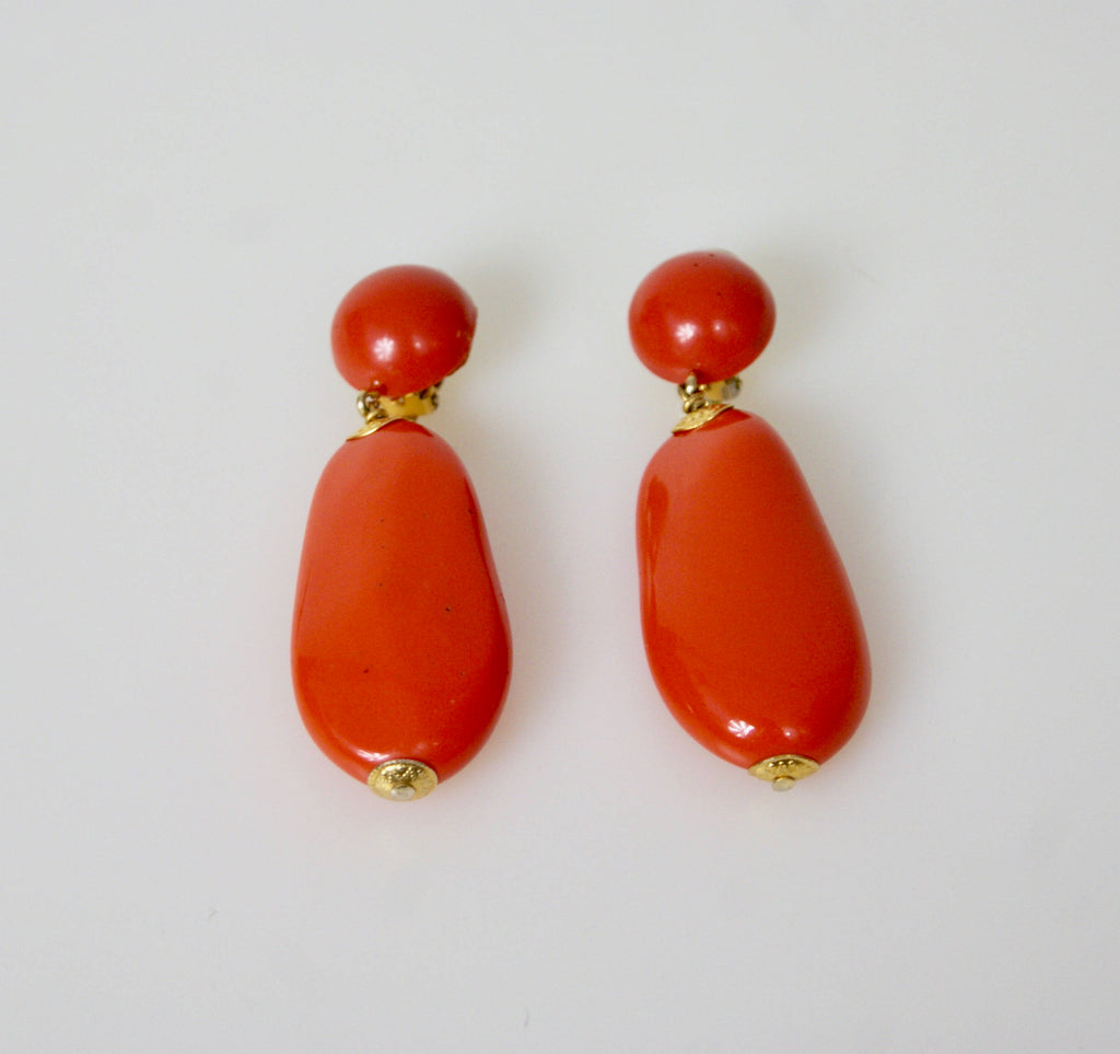 GIORGIO ARMANI Vintage Statement Jewellery Large Pomodoro Red Clip on Earrings