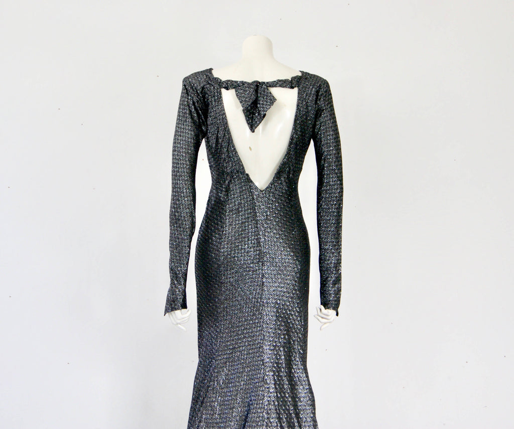 Vintage 1930s Gothic Wedding Dress Lush Silk Silver Lame & French Tulle Hostess Dress