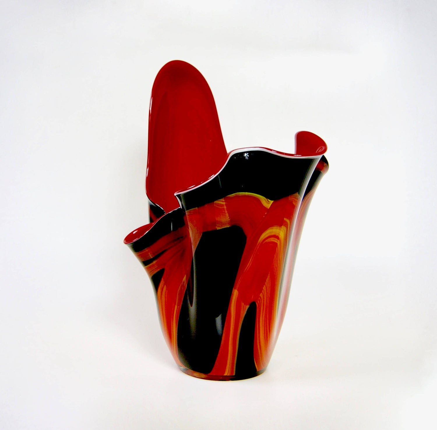 Large JOZEFINA Poland, Fiery Orange Red & Black Kerchief Glass Vase, 38cm high