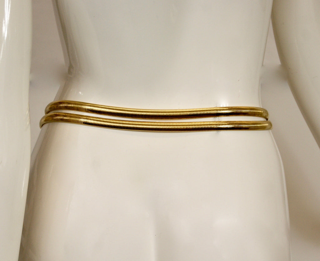 GAY BOYER Vintage 80s Gilted Buckle Sleek Belt