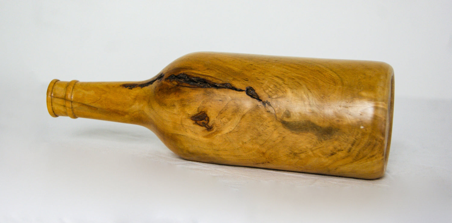 Mid-Century Modern,Vintage 1960s Burl Wood Vase, Hand Turned Burr Wood Sculptural Bottle Vase 082309