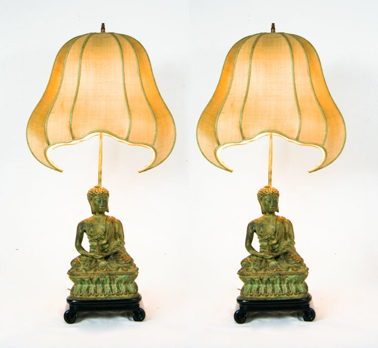 Pair of Heavy Cast Iron Buddha Lamps With Original Pagoda Shades in The Style of James Mont