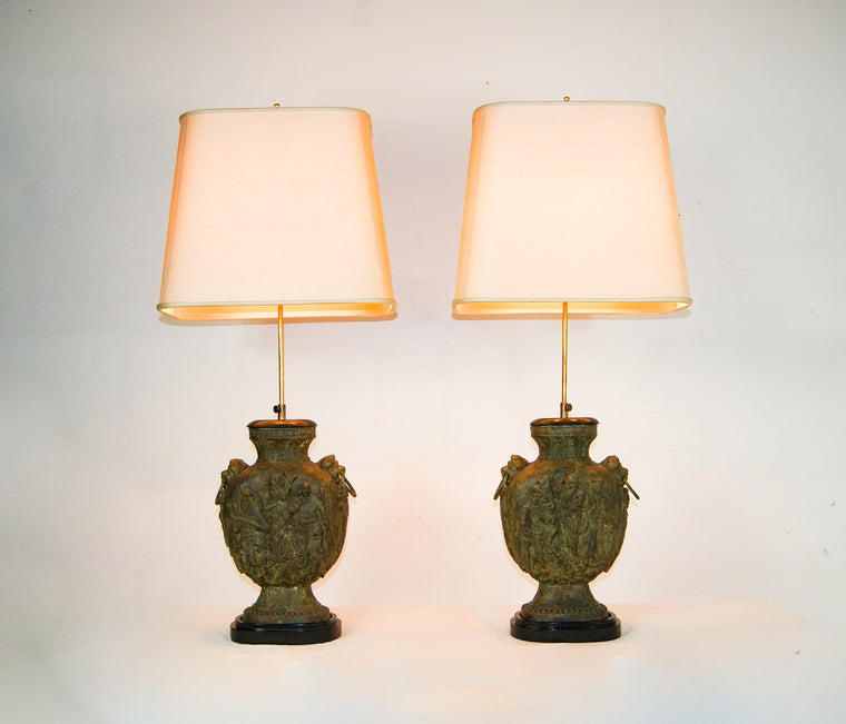 Pair of Large Brutalist Cast Iron Chinese Guan Yu Figurine Double Bulb Lamps in The Style of James Mont