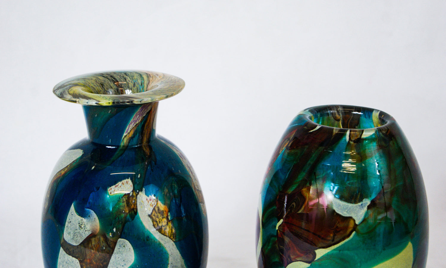 MDINA Maltese Blue & Brown Art Glass Vase Colours of the sea