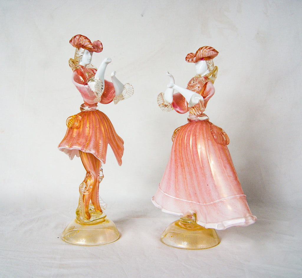 Pair of Murano Labeled Pink White and Gold Opal Glass Dancing Dolls