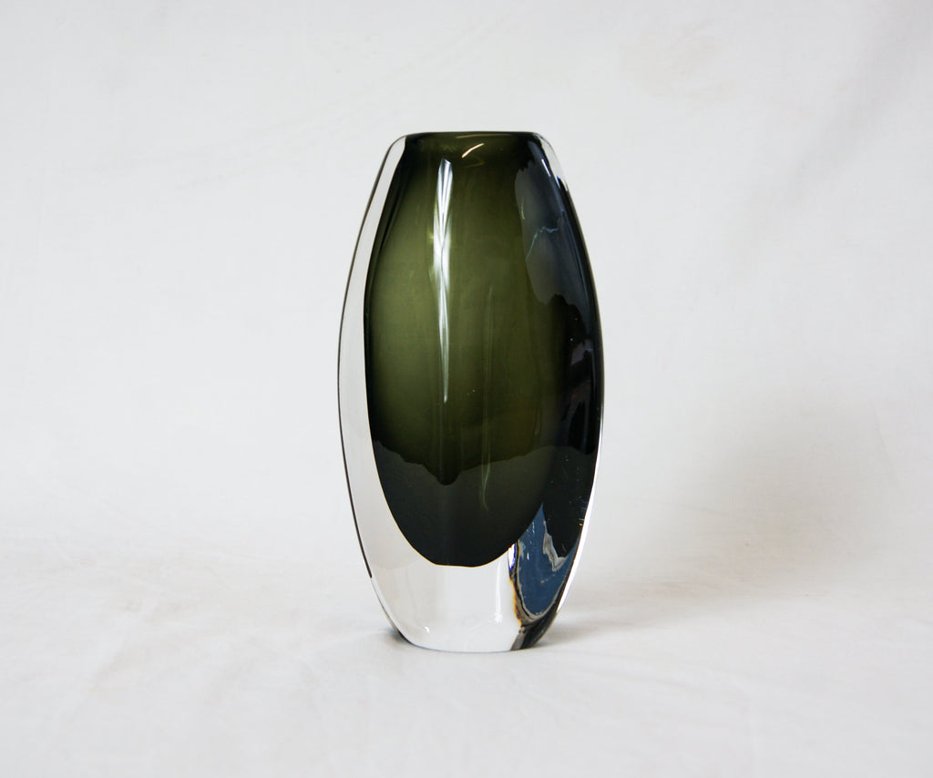 Nils Landberg Orrefors Sweden Dusk Glass Vase Artist Signed and numbered 3538/7