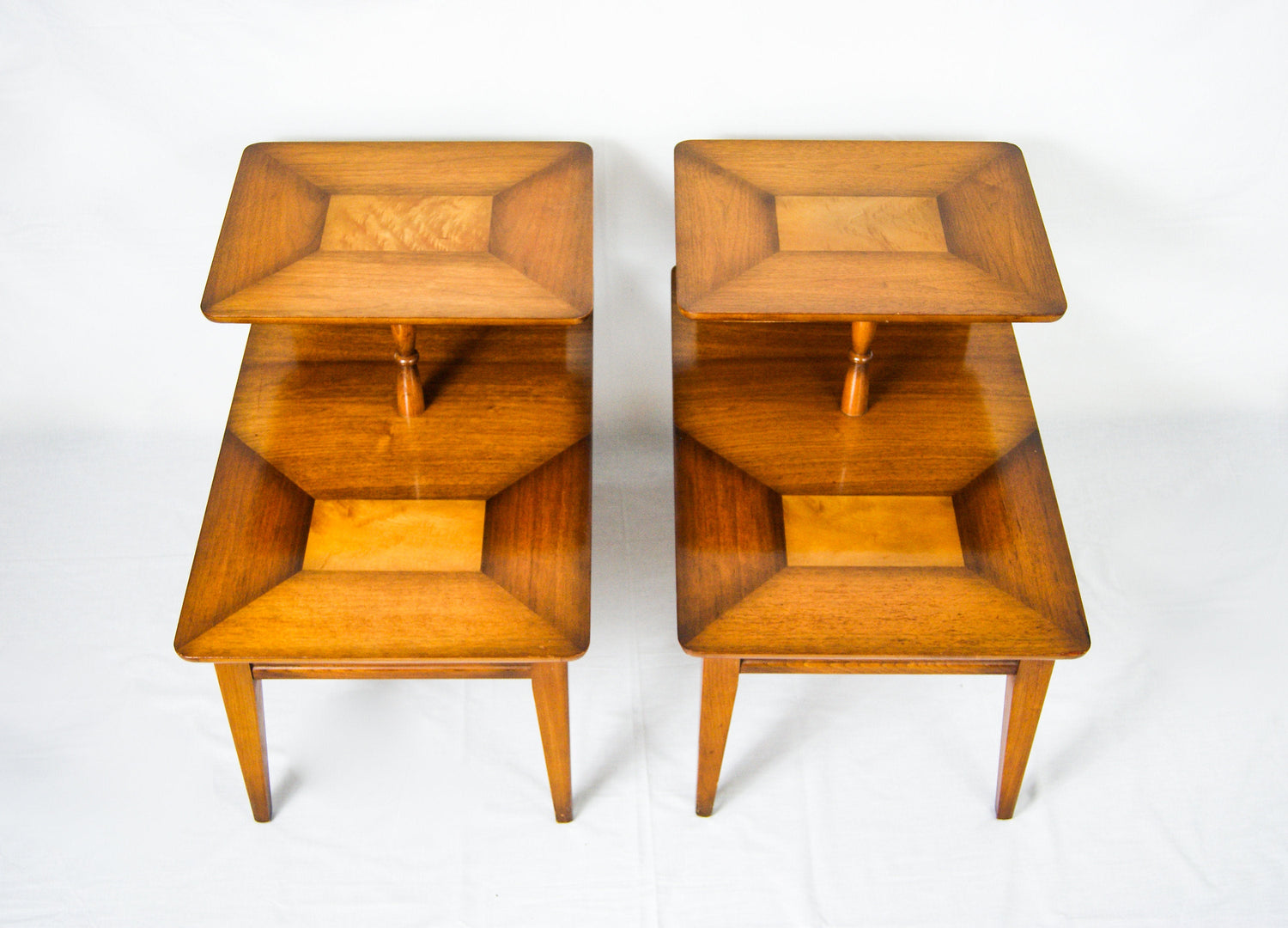 Art Deco Pair of Walnut Bedside Tables by KNECHTEL Furniture Company Canada