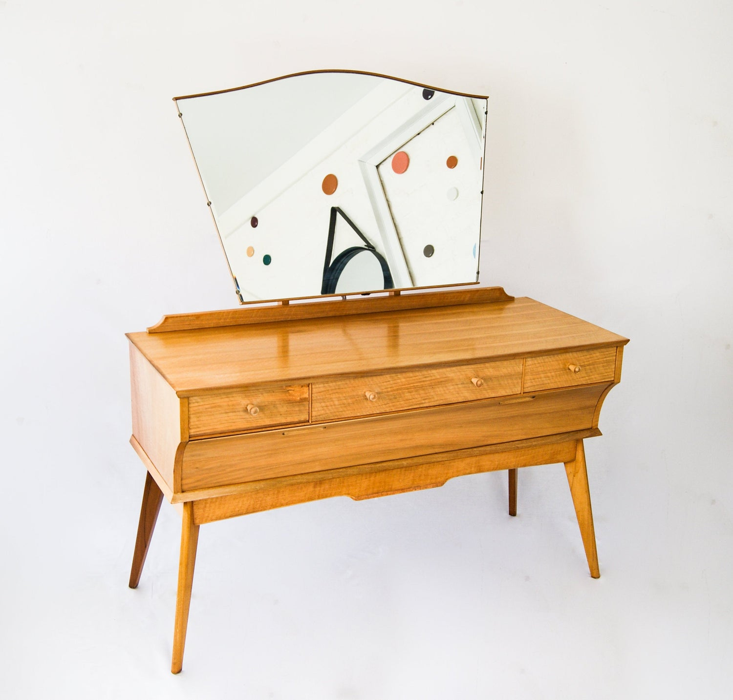 1960s ALFRED COX for AC Furniture English Sycamore Wood Dressing Table Cabinet