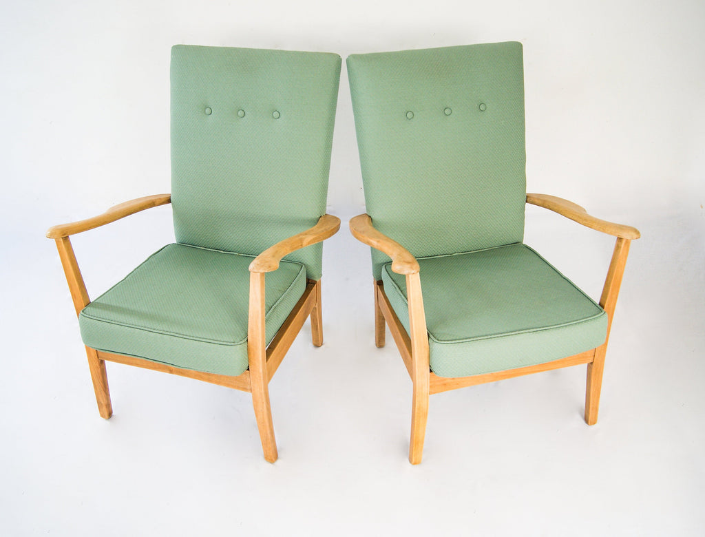 Pair of Mid-Century Armchairs Teak Wood and Spring