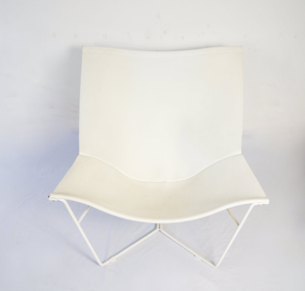 David Weeks for Habitat Semana White Leather Sling Chair