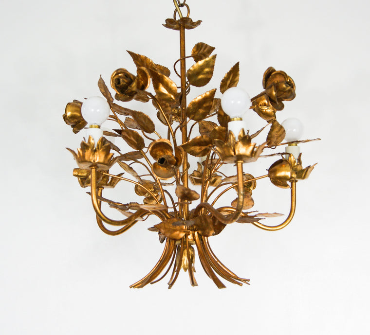 Hollywood regency Hans Kogl Gold Rose Foliage Chandelier Ceiling Lamp