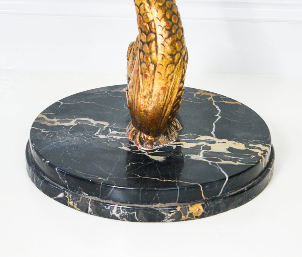Hollywood Regency Marble and Metal Koi Fish Side Table