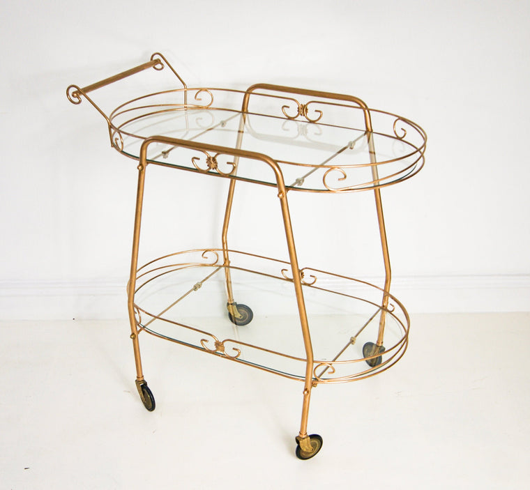 Hollywood Regency Gold Bar Cart Tea Service Trolley on Wheels