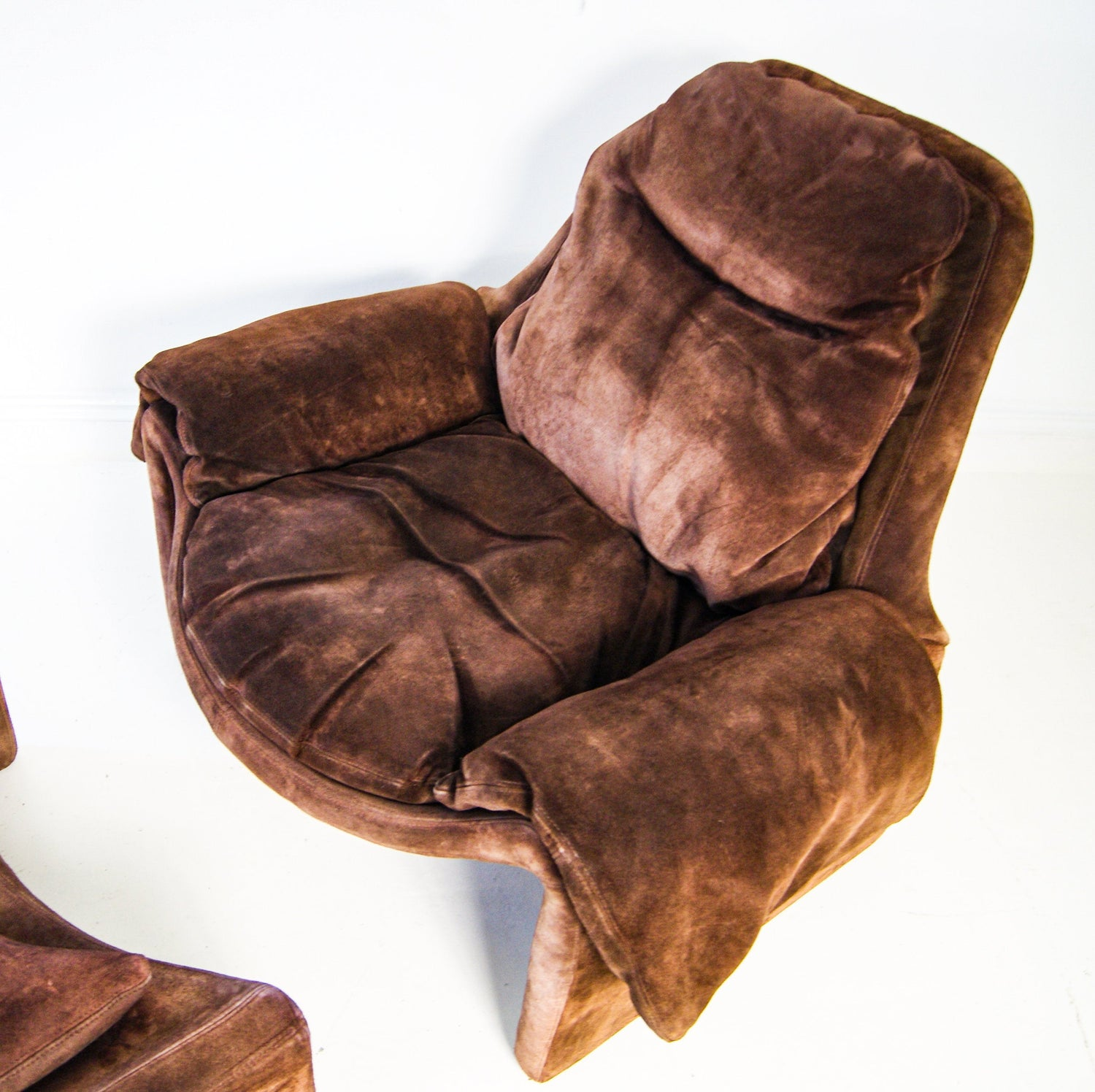 Saporiti Leather Lounge Chair P60 and Ottoman Footstool P62