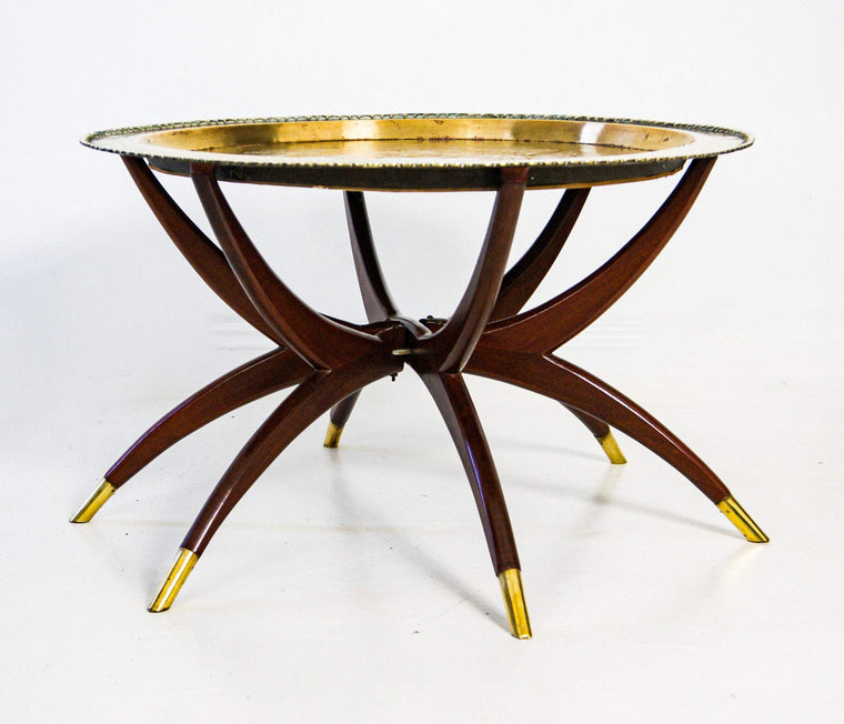 Mid Century Bohemian Etched Brass Tray Coffee Table.