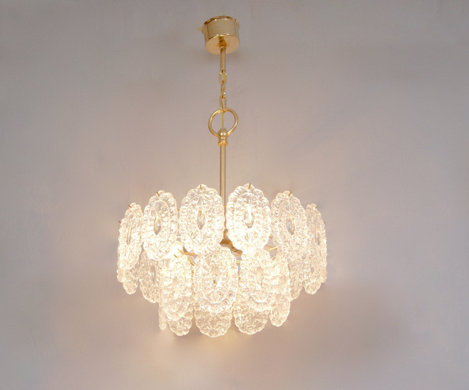 Vintage 1960 Murano Art Glass Crystal Chandelier Ceiling Hanging Lamp Light