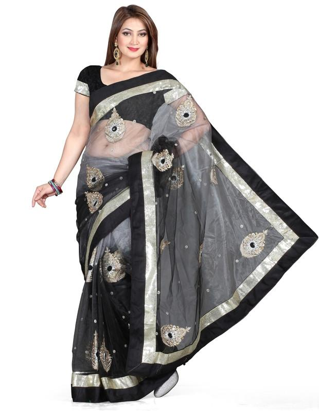 Black & Grey Color Net Function & Party Wear Sarees  MF- Catlog SJ-4175