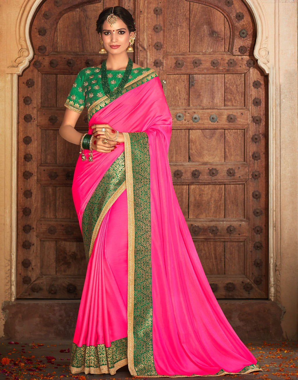 Rani Pink Color Crepe Georgette Designer Party Wear Sarees  Anyra Suhani Catlog SJ-10366