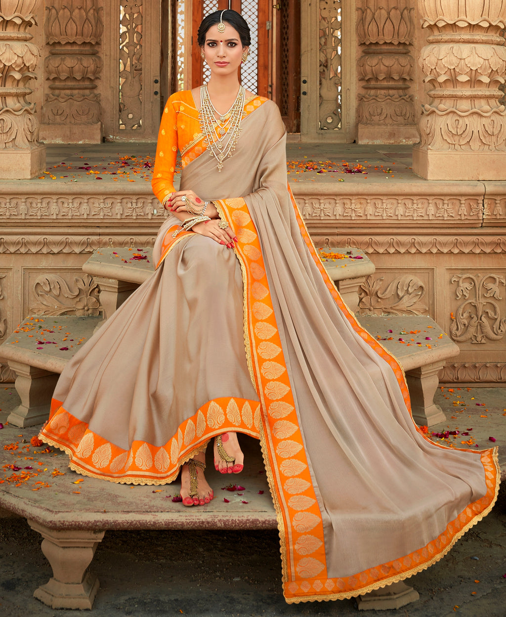 Light Brown Color Wrinkle Chiffon Designer Party Wear Sarees  Anyra Suhani Catlog SJ-10367