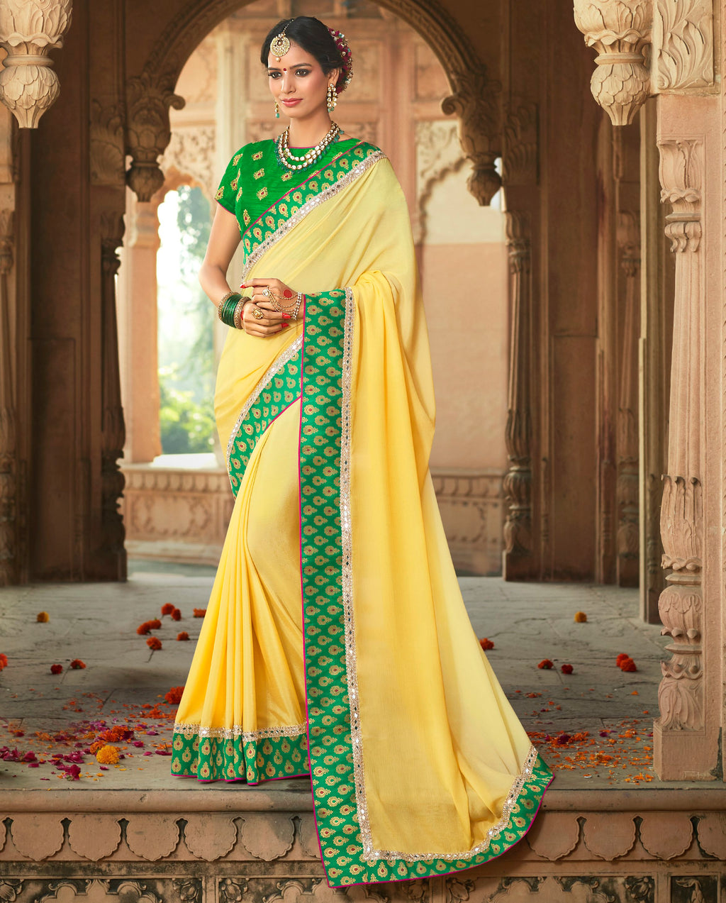 Yellow Color Wrinkle Chiffon Designer Party Wear Sarees  Anyra Suhani Catlog SJ-10368