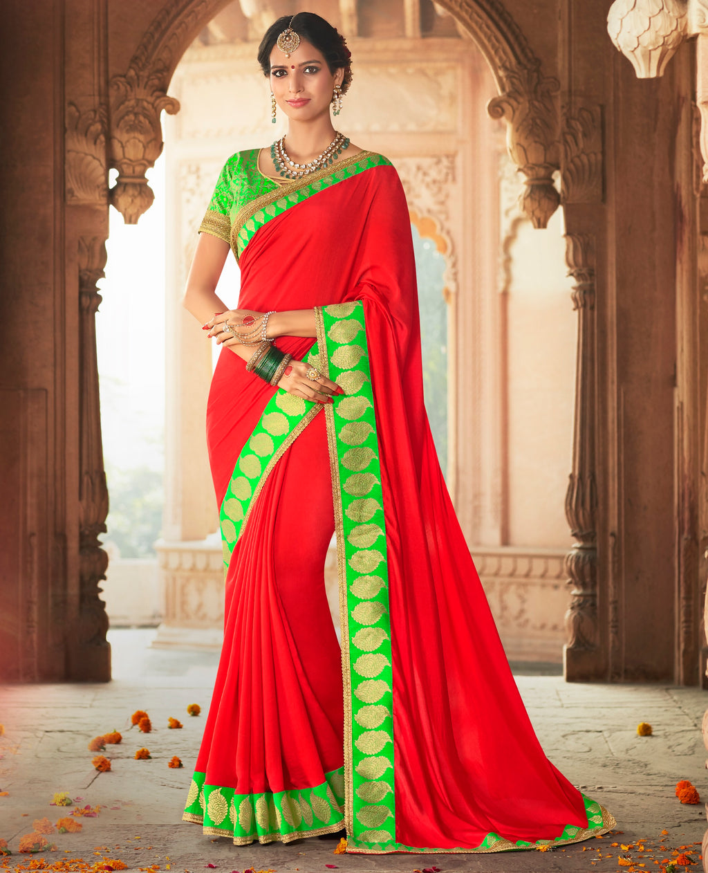 Bright Red Color Crepe Georgette Designer Party Wear Sarees  Anyra Suhani Catlog SJ-10369