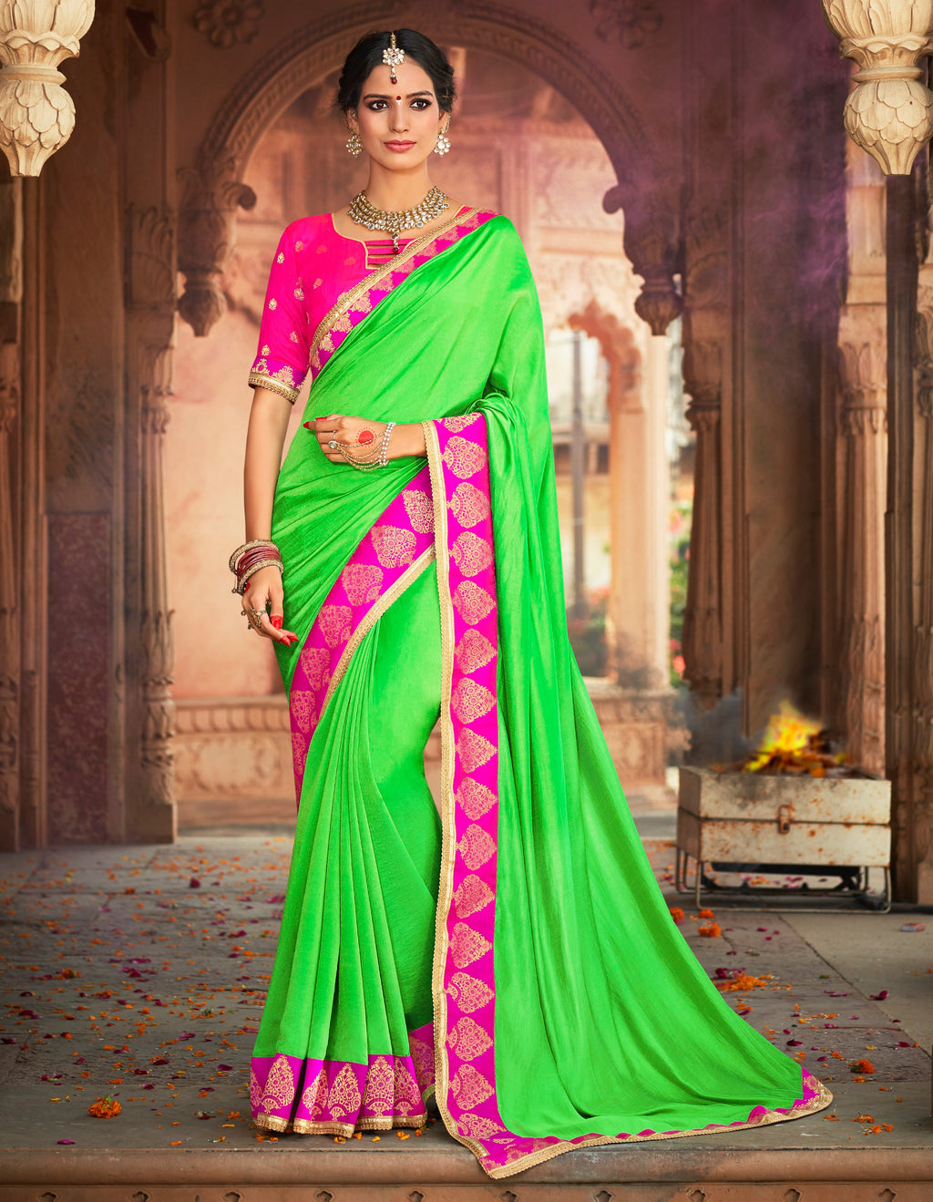 Green Color Raw Silk Designer Party Wear Sarees  Anyra Suhani Catlog SJ-10371