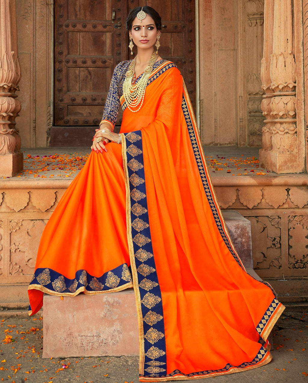 Orange Color Crepe Georgette Designer Party Wear Sarees  Anyra Suhani Catlog SJ-10374