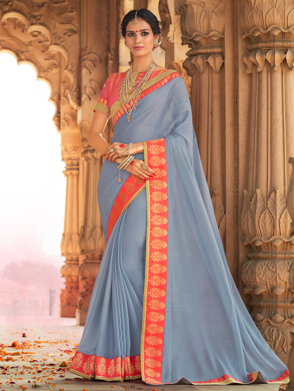 Grey Color Wrinkle Chiffon Designer Party Wear Sarees  Anyra Suhani Catlog SJ-10375