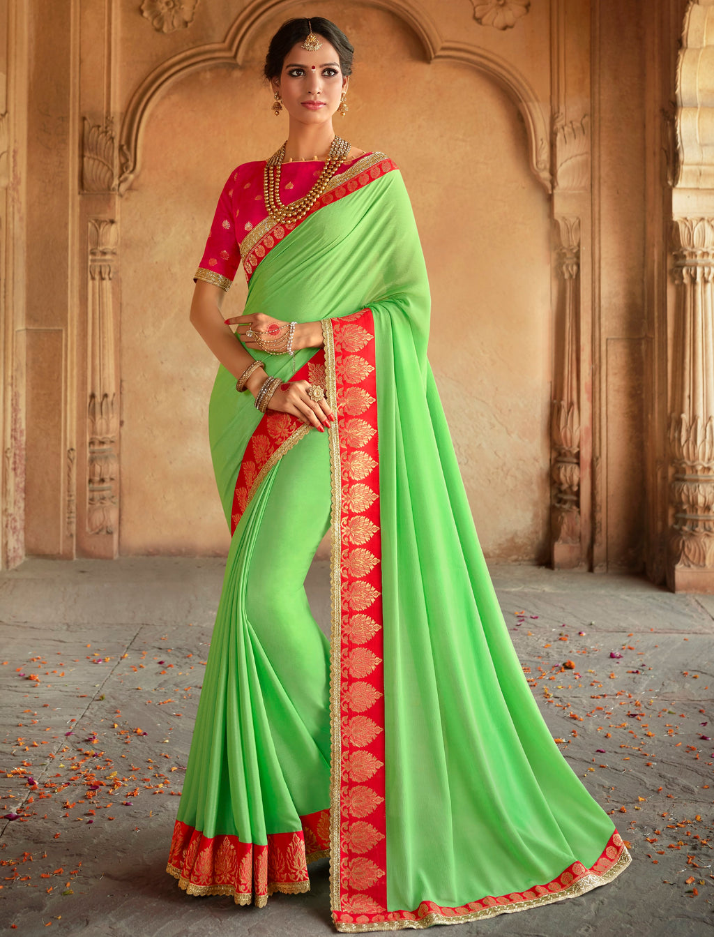 Green Color Wrinkle Chiffon Designer Party Wear Sarees  Anyra Suhani Catlog SJ-10376