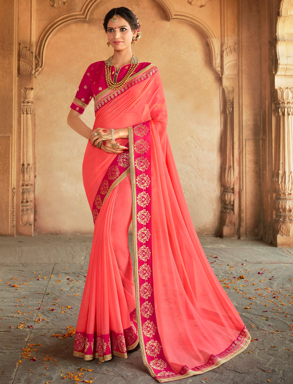 Pink Color Wrinkle Chiffon Designer Party Wear Sarees  Anyra Suhani Catlog SJ-10377