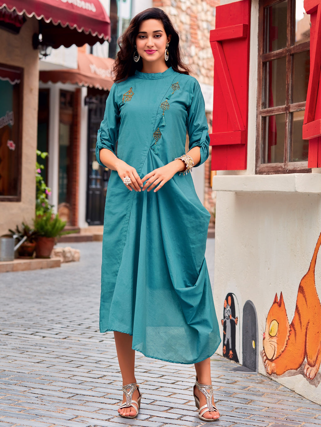 Firozi Color Cotton Silk Readymade Designer Kurtis ( Sizes-38,40,42) Iceblue Catlog SJ-10001