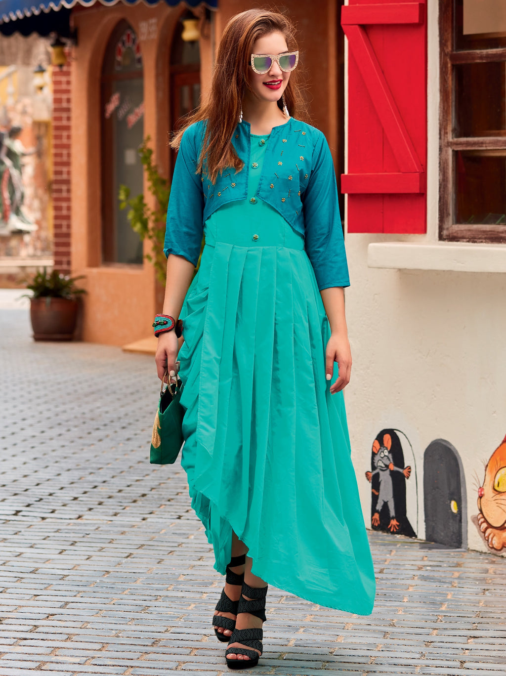 Sea Green Color Cotton Silk Readymade Designer Kurtis ( Sizes-38,40,42) Iceblue Catlog SJ-10010