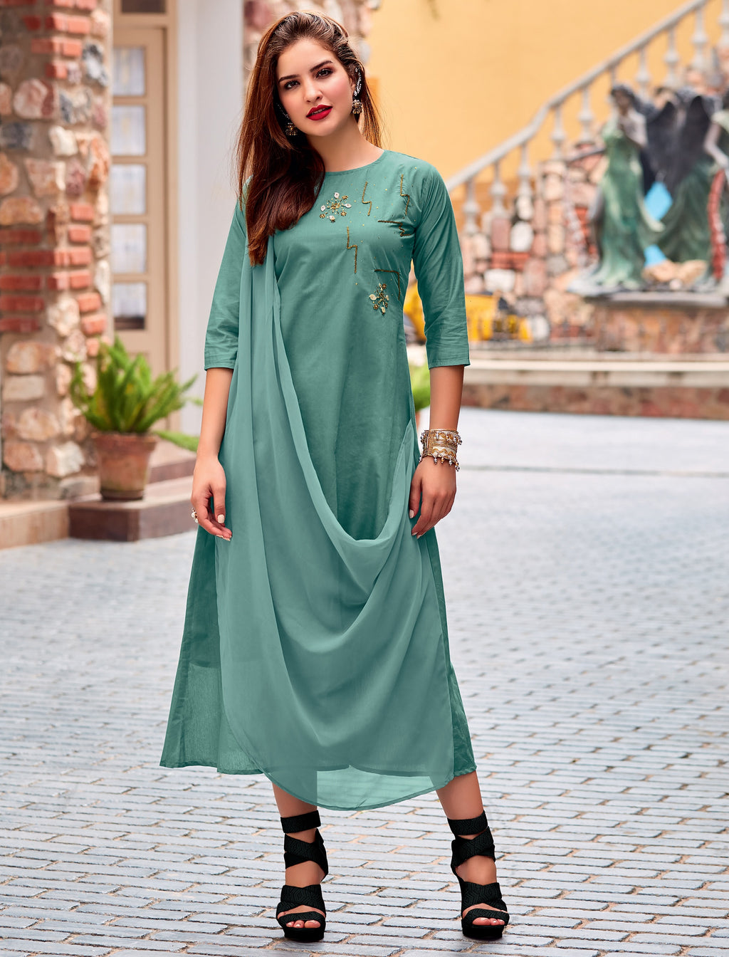 Shades Of Green Color Cotton Silk Readymade Designer Kurtis ( Sizes-38,40,42) Iceblue Catlog SJ-10019