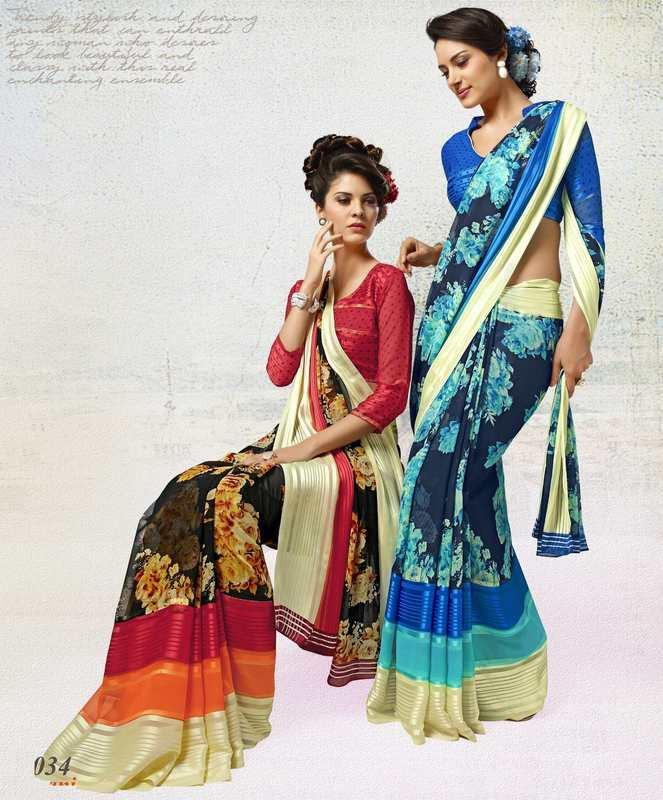 Black & Pink/Shades Of Blue Color Georgette Casual Wear Sarees  Animesh- Catlog SJ-4290