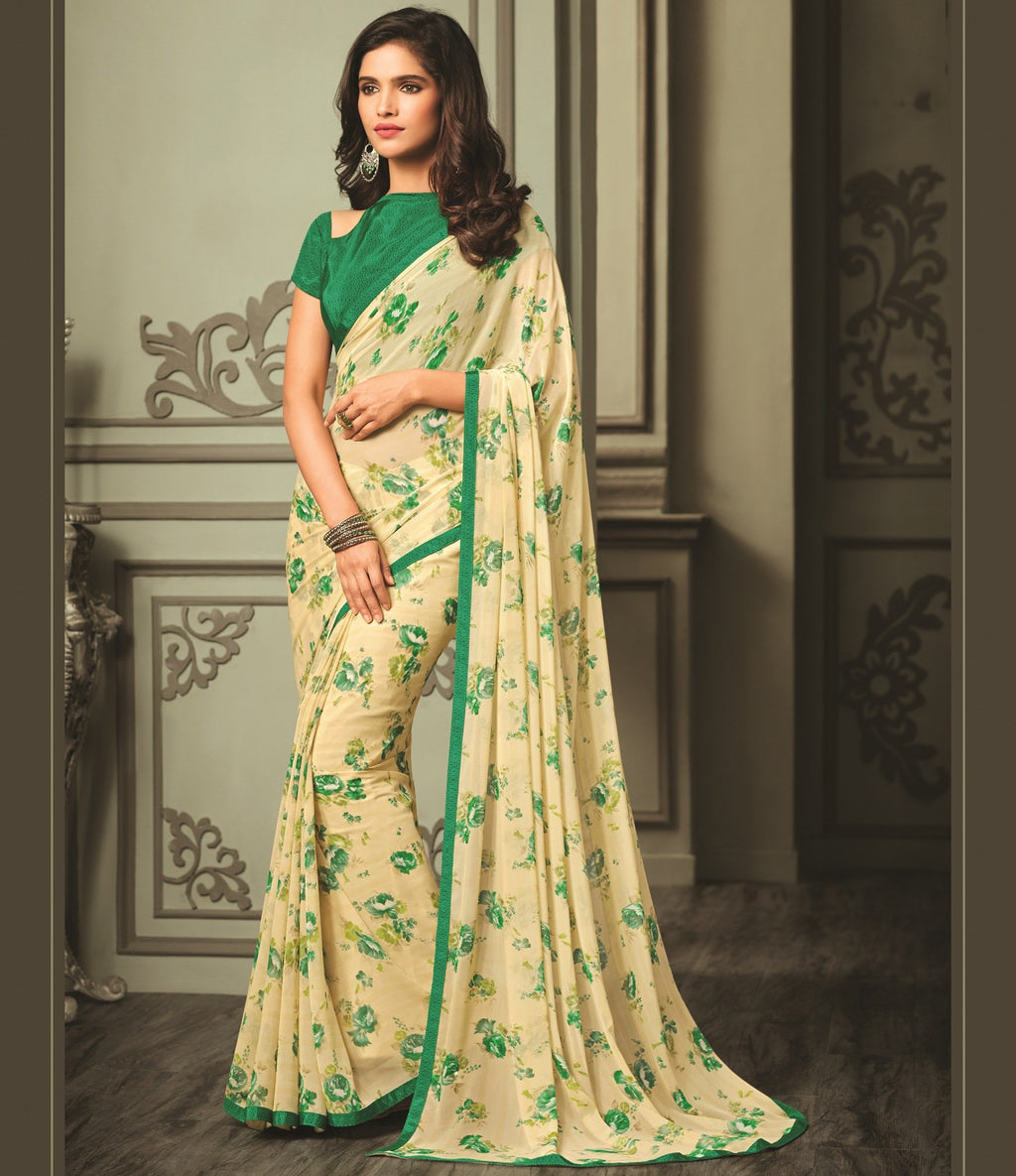 Light Yellow & Green Color Georgette Floral Printed Sarees  Ruchi-Guldasta5 Catlog SJ-2177