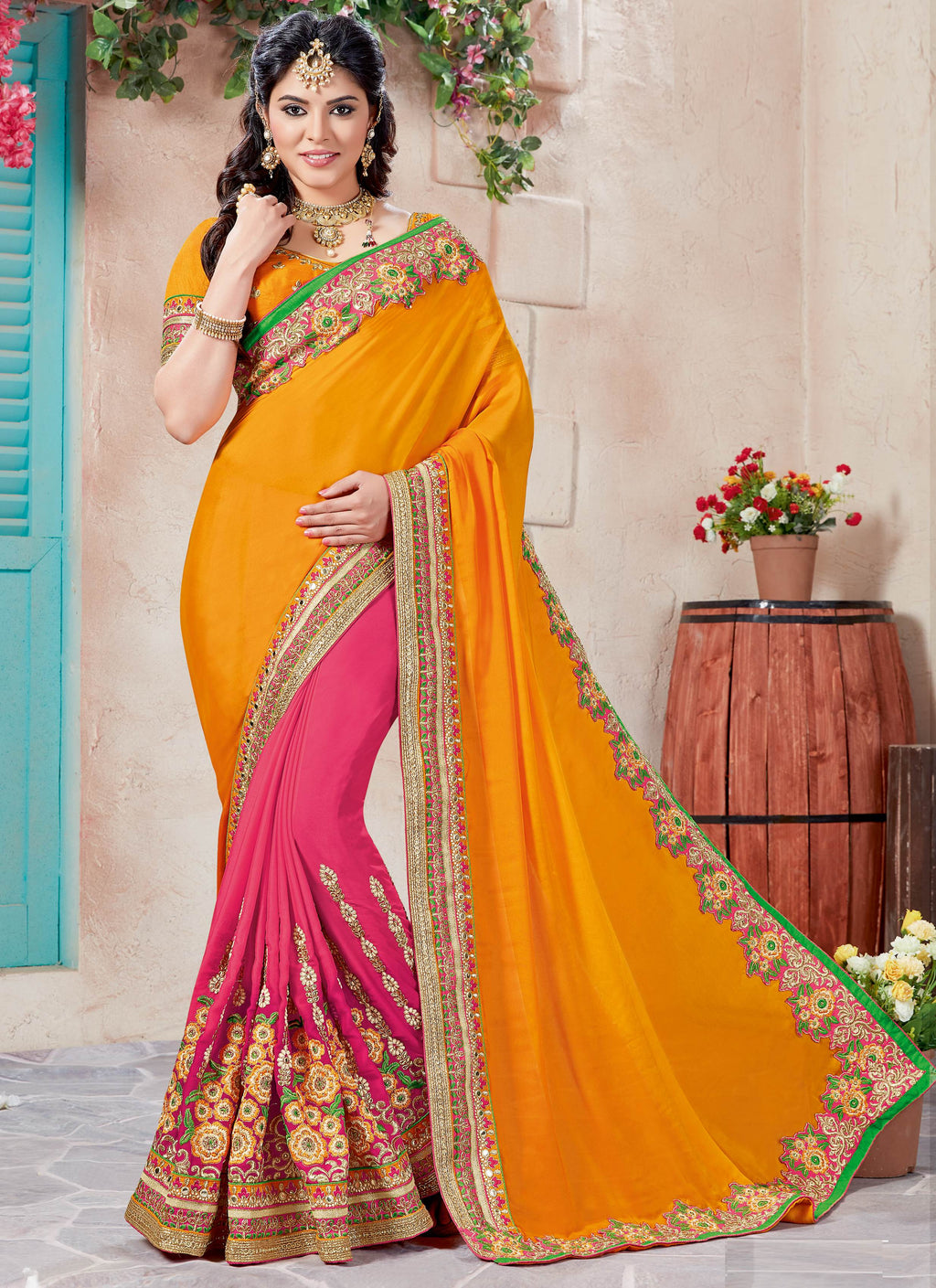 Pink & Turmeric Yellow Color Wrinkle Chiffon Designer Party Wear Sarees  Richdelight9 Catlog SJ-10140